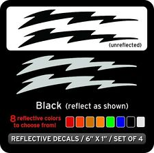 Lightning Bolts Reflective Decals Stickers / Black