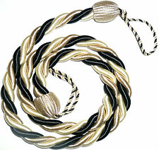 STUNNING SILKY TWISTED ROPE CURTAIN TIE BACKS, X2, VARIOUS COLS, ART 6687