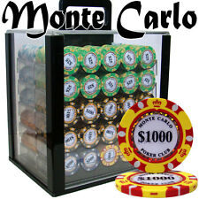 New 1000 Monte Carlo 14g Clay Poker Chips Set with Acrylic Case - Pick Chips!