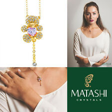 "16"" Champagne Gold Plated Necklace w/ Teddy Bear & Pruple Crystals by Matashi"