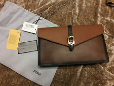Fendi Brown Envelope Clutch Purse **New Tags Dust Bag