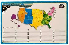 """Dry Erase Lap Board Learn States Capitals United States Map 11X17"""" School kids"""