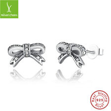 925 Sterling Sparkling Bow Stud Earrings With Clear CZ For Women Fashion Jewelry