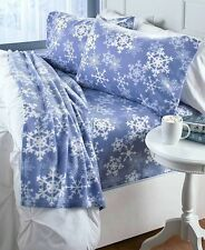 Cozy Fleece Snowflake Full Sheet Set Pillowcases Christmas Holiday Bedroom Decor