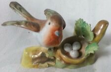 Beautiful Vintage Crown Staffordshire J T Jones Robin With Nest and Eggs