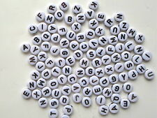 200 x Black on White Acrylic Alphabet Round Mixed Letters Beads 7mm - A10