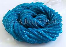 "13"" strand bright neon blue APATITE faceted rondelle gem stone beads 2.5mm - 3mm"