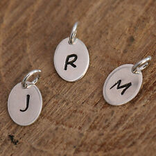 Personalized Solid Sterling Silver Necklace or Bracelet Tag Upper Case Initials