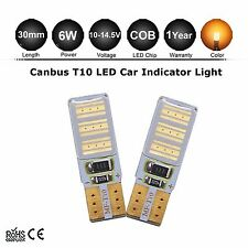 2x Yellow Amber LED Error Free Canbus COB Side Wedge Light Bulb T10 194 168 W5W