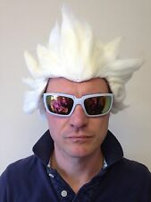 White Spiked Wig White Spikey Streetfighter Anime Hair Fancy Dress Party