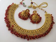 Indian Fashion jewelry Necklaces bollywood ethnic gold traditional AD set ns2