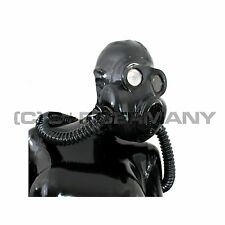 █ DELUXE 6 PARTS DELUXE GAS MASK SYSTEM LATEX HOOD BAG + TUBES FOR FETISH SKIRT