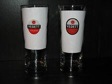 2 Beer glass Lot Vedett Extra Blond german Tall pint Barware Bar set Drinking 2