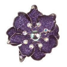 Joan Rivers Flower Purple Drusy Pin Brooch   NWT