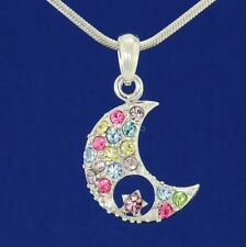 W Swarovski Crystal Moon Star Pendant Necklace Multi Color Jewelry Gift
