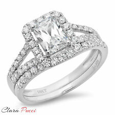 1.60CT Simulated Emerald Cut Halo Engagement Bridal Ring band set 14k White Gold