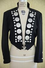 Vtg Black Jacket Coat Native Indian Southwestern Country Western Concho