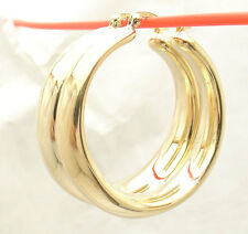 "1.5"" Bellezza Bold Large All Shiny Band Style Hoop Earrings Bronze Yellow Color"