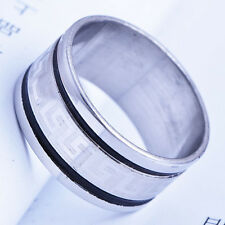 Cool White stainless steel Clear CZ Mens Band Wedding Ring 9 Free Shipping