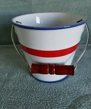 """The Monkey and The Peddler"" Porcelain Bucket; Red White Blue 2004 Careless Cook"