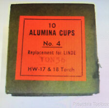 New Box of 10 ALUMINA CUPS Linde 10N56 No. 4 HW 17 & 18 Torch