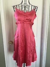 Betsey Johnson Vtg Choral Silk Tiered Ruffle Bustle Lace Baby doll Dress 4 NWT!