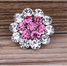 3D Rhinestone Flowers Charm Chunk Snap Button fit for Noosa Leather Bracelet !