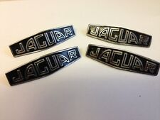 JAGUAR XK120 XK140 XK150 NEW BLACK HUB CAP MEDALLIONS X 4 (FREE POST)