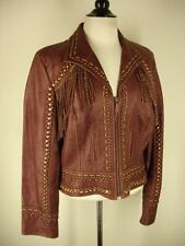 Womens L Double D DD Ranch leather jacket fringe studded metallic oxblood brown