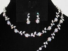 Bridal 3PC Set Silver With AB Flower Rhinestones Necklace, Earrings and Bracelet