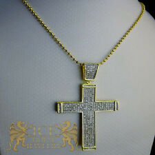 14K YELLOW GOLD FINISH MINI HOLY JESUS CROSS PENDANT CHARM CHAIN NECKLACE SET