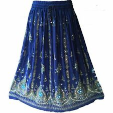 Indigo Blue Boho Gypsy Hippie Lotus Flower Silver Sequin Indian Paisley Skirt
