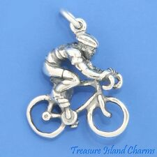 BIKE BICYCLE RIDER CYCLIST BICYCLING 3D .925 Solid Sterling Silver Charm CYCLING