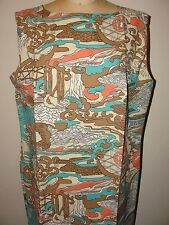 NEW VINTAGE GASSMAN'S 60s**GRAPHIC PSYCHEDELIC ASIAN PRINT SHIFT DRESS*XL/XXL 20