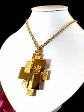 1960'S CROWN TRIFARI GOLDTONE NECKLACE MODERN ART ABSTRACT BLOCK DESIGN PENDANT