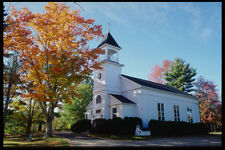 228036 White Clapboard Church With Fall Colors A4 Photo Print