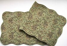 MICHAEL Floral Paisley Quilted Cotton Table Runner Green, Black, Golden Tan