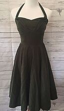 Anthropologie Girls from Savoy Green Corduroy Halter Strapless Dress sz. 4