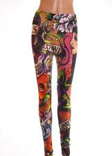 Bright Coloured Stretchy Tattoo Design Long Leggings Size L Large 12 14 Koi