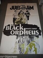 JULES AND JIM/BLACK ORPHEUS - ORIGINAL FOLDED POSTER - DBL FEATURE REISSUE