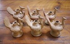 Lot of 6 Thanksgiving Holiday TURKEY Mexican Pottery Table CANDLE HOLDERS