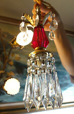 1of5 Vintage ruby red Lucite hanging mini tole lamp chandelier crystal prisms
