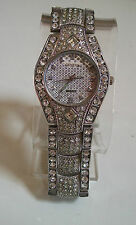 SILVER FINISH CLEAR CRYSTAL BLING HIP HOP GENEVA FASHION WATCH