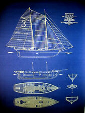 "Vintage Schooner Gracie of San Francisco 1893 Blueprint Plans 23""x34"" (100)"