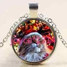 Christmas cat Cabochon Tibetan silver Glass Chain Pendant Necklace &XP-2530