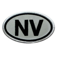 VEGASBEE® NEVADA NV STATE USA REFLECTIVE EMBROIDERED IRON-ON PATCH BLACK-WHITE