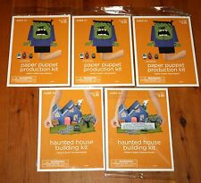 lot of 5 Halloween CRAFT KITS Makes 4 Haunted Houses 9 Puppets NEW