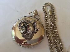A52 Mouflon  polished silver case mens GIFT quartz pocket watch fob