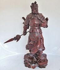 "16.7"" Vintage Chinese Carved Wood Immortal or Warrior with Spear & Armor"