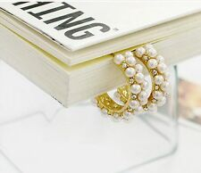 High Quality Beautiful Party Wear Gold Plated Fashion Pearl Stud Earrings Girls